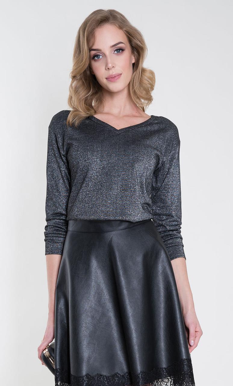 Женская блуза с люрексом Helene Zaps цвета графит. Коллекция осень-зима