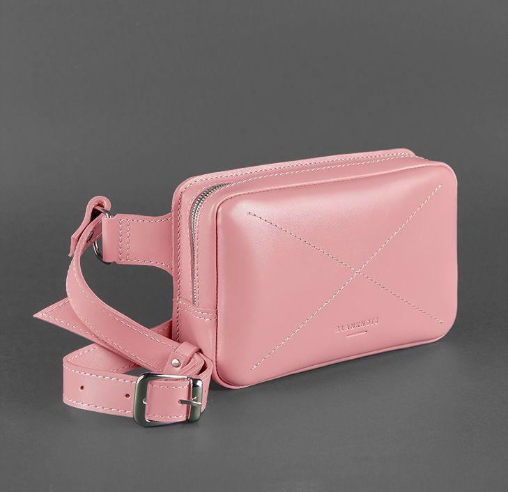 Сумка средняя на пояс кожаная женская розовая DropBag (ручная работа)