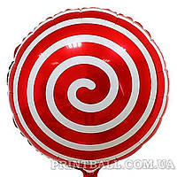 Фольгированный воздушный шар Спираль красная (45 см.) #020
