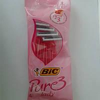Станок женский одноразовый для бритья (Бик 3 Пюр Леди) Bic Pure 3 Lady 4 шт. оригинал