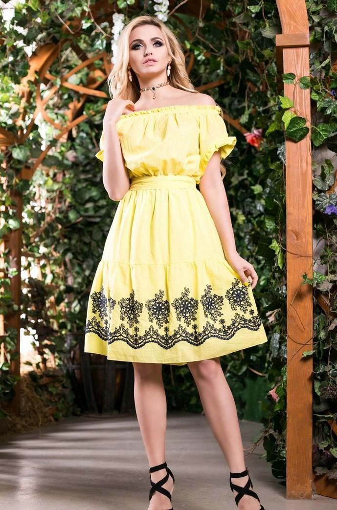 Летнее желтое хлопковое платье с вышивкой Д-1505