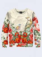 Свитшот Красочные Цветы и Птицы