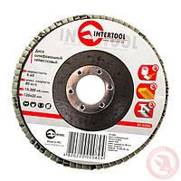 Круг диск шлифовальный лепестковый 125x22 мм зерно K60 INTERTOOL BT-0206