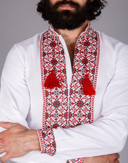 Мужская вышиванка на домотканом полотне