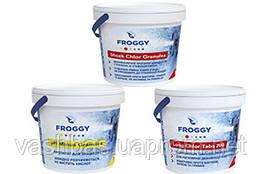 FROGGY™: Long Chlor, 1 кг; Shock Chlor, 0,9 кг; PH- Minus, 1 кг