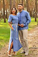 Парные вышиванки в современном стиле цвета деним М07/1-273 и П02/7-273, фото 1