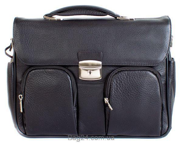 Модный портфель кожаный мужской WANLIMA, Черный