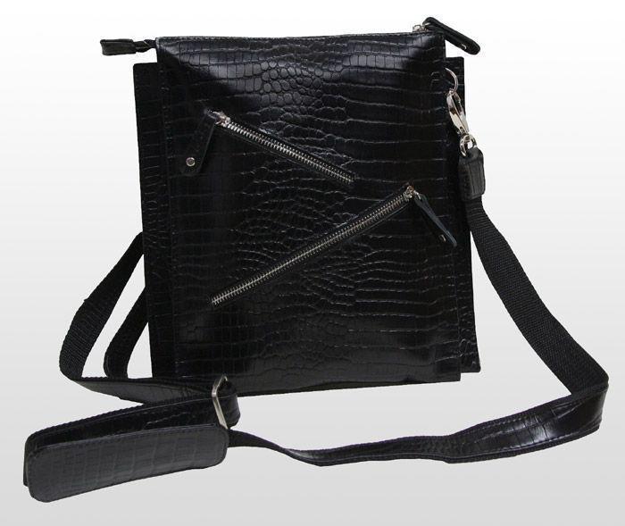 Стильная мужская сумка VIP COLLECTION Украина 1445A croc, Черный