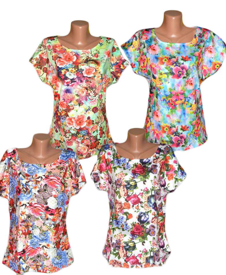 Блузка женская цветная больших размеров 03150, вискоза масло, р.р.46-66