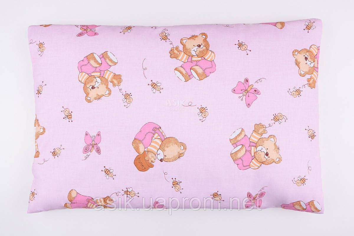 """Детская подушка для новорожденных """"Мишки с мёдом"""", цвет розовый."""