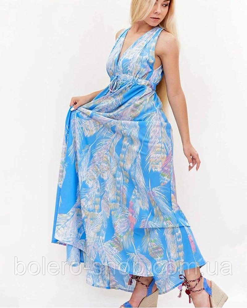 Женское платье длинное синее Италия