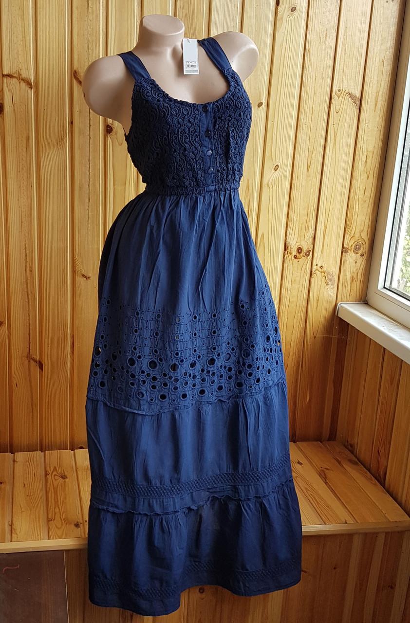 Летнее синее платье сарафан с кружевом L