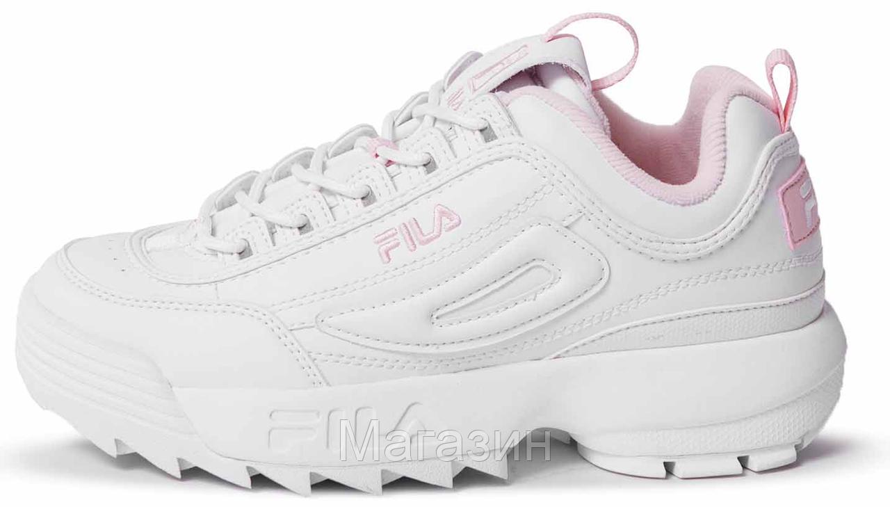 Женские кроссовки Fila Disruptor 2 White/Flamingo Pink (Фила Дисраптор 2) белые