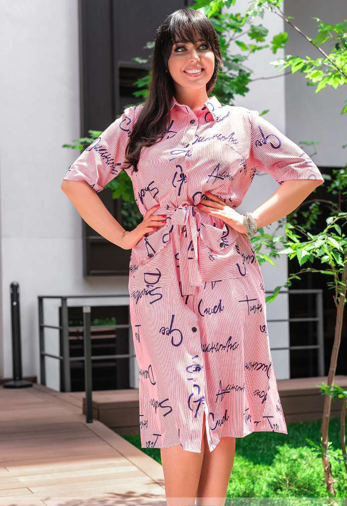 Женское платье на пуговицах, Мода плюс