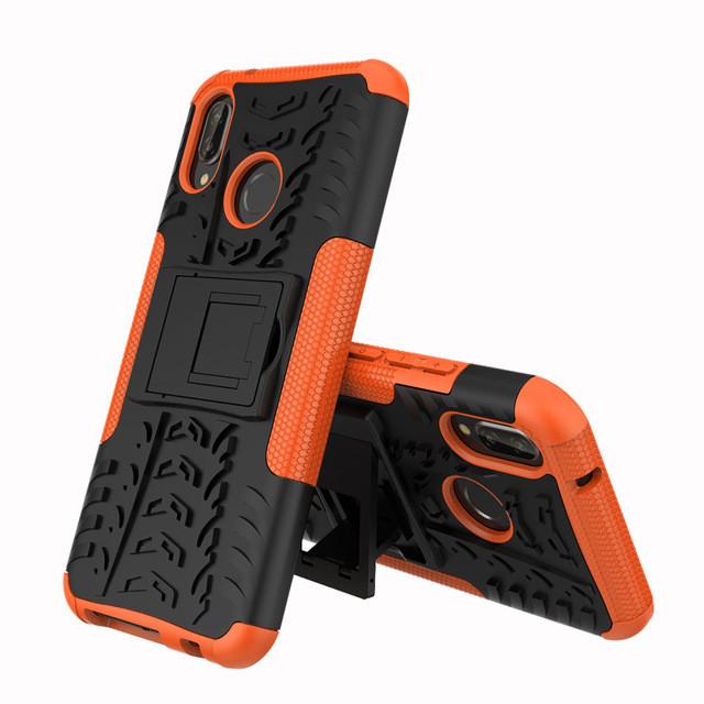 Чехол Huawei P20 Lite / Nova 3E / ANE-AL00 / ANE-TL00 противоударный бампер оранжевый
