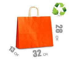Оранжевый крафт пакет с витыми ручками 320х130х280мм