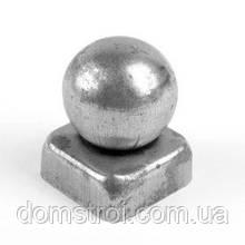 Металлическая квадратная заглушка 40х40 с шаром Ø40