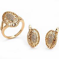 Набор серьги 1.6см и кольцо 18р Xuping позолота 18К 7775