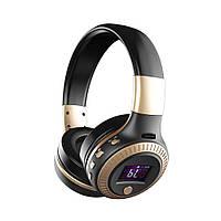 Накладные Bluetooth HiFi стерео наушники ZEALOT с ЖК дисплеем черное золото