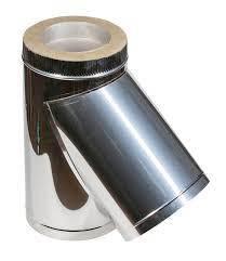 Тройник для дымохода из нержавеющей стали с термоизоляцией в оцинкованном кожухе угол 45°