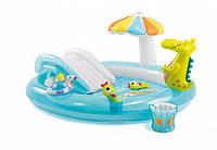 Детский надувной центр Intex 57129 «Аллигатор», 203 х 173 х 89 см, с горкой и надувными игрушками