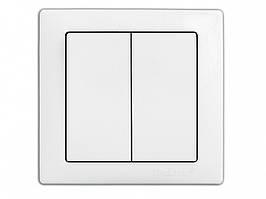 Выключатель 2-й встроеный DELUX WEGA 9023 белый
