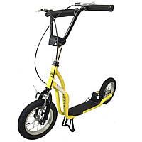 "Самокат SpeedRider 12"" надувные колеса, желтый"