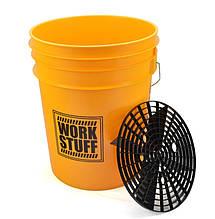 Комплект для ручной мойки автомобилей ведро и грязеуловитель - Work Staff черно-желтое (702213)