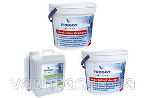 FROGGY™: Long Chlor, 1 кг; Shock Chlor, 0.9 кг; Algicid L210, 1 л
