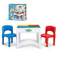 Столик для конструктора типа лего, два стульчика, размер столика 51-51-40 см,SLUBAN M38-B0637