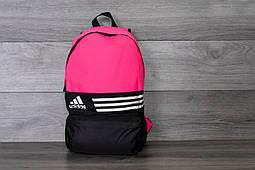 Рюкзак унисекс Adidas молодежный, удобный, городской  (черный с розовым), ТОП-реплика