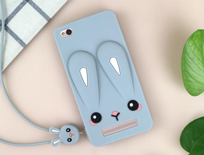 Чехол Бампер 3D для Xiaomi Redmi 3 резиновый Funny-Bunny серый