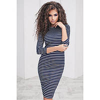 Темно-синие трикотажное платье в полоску Asia (Код 124)