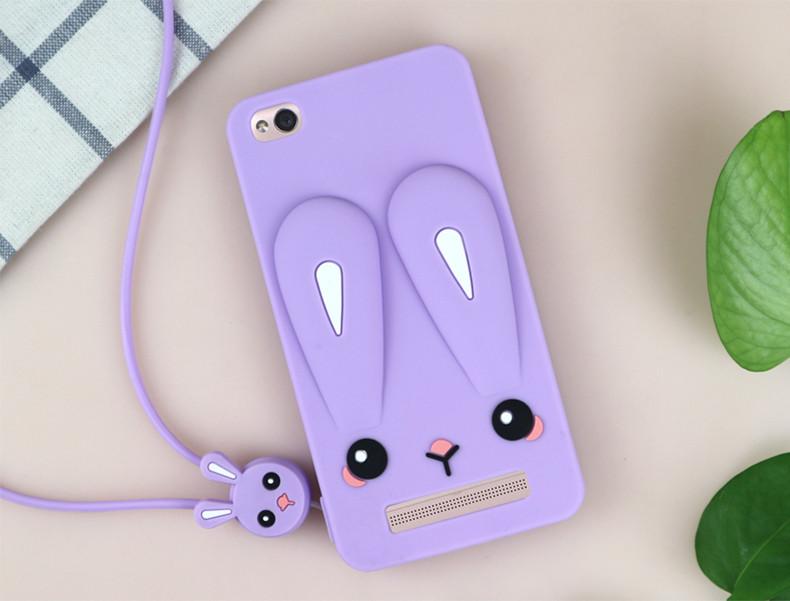 Чехол Бампер 3D для Xiaomi Redmi 3 резиновый Funny-Bunny сиреневый