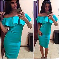 Летнее мятное платье с воланом Stefany (Код 037)