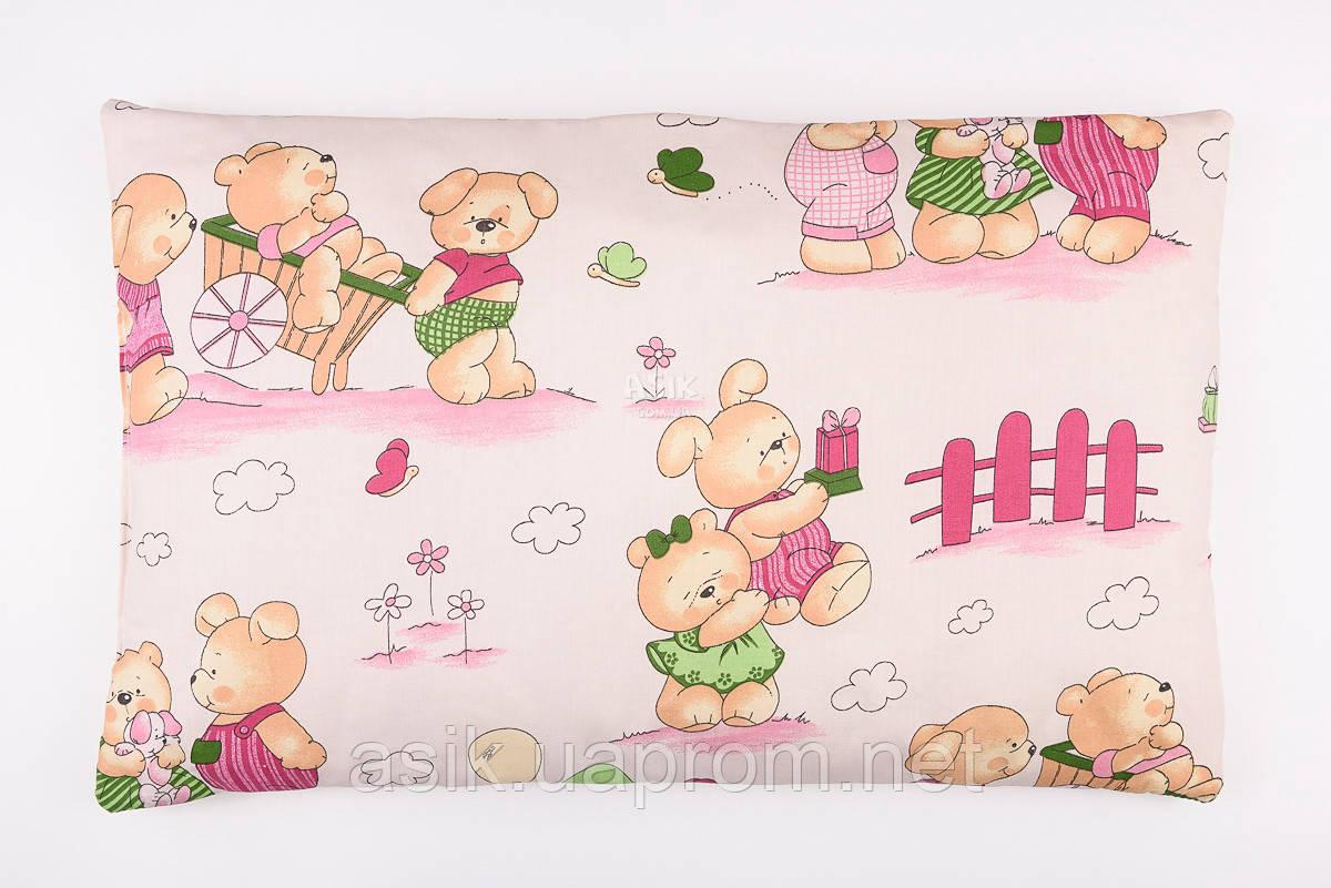 """Детская подушка 60*40 для новорожденных """"Мишутки"""" , цвет розовый."""
