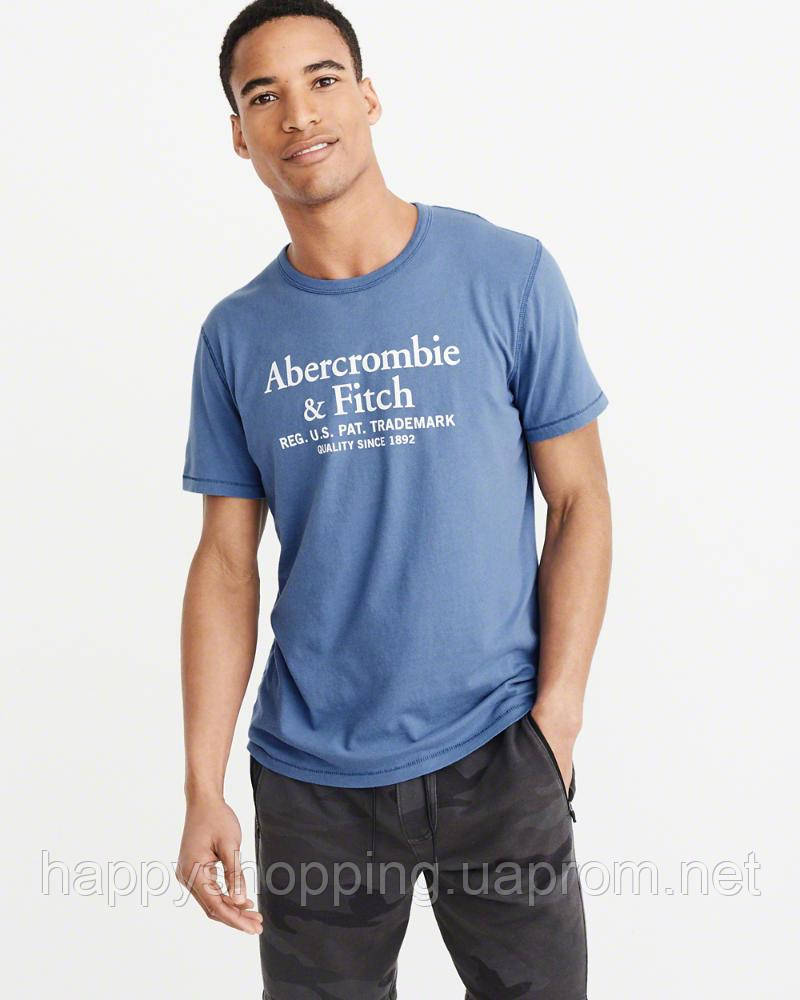 Мужская синяя футболка с принтом популярного американского бренда Abercrombie & Fitch