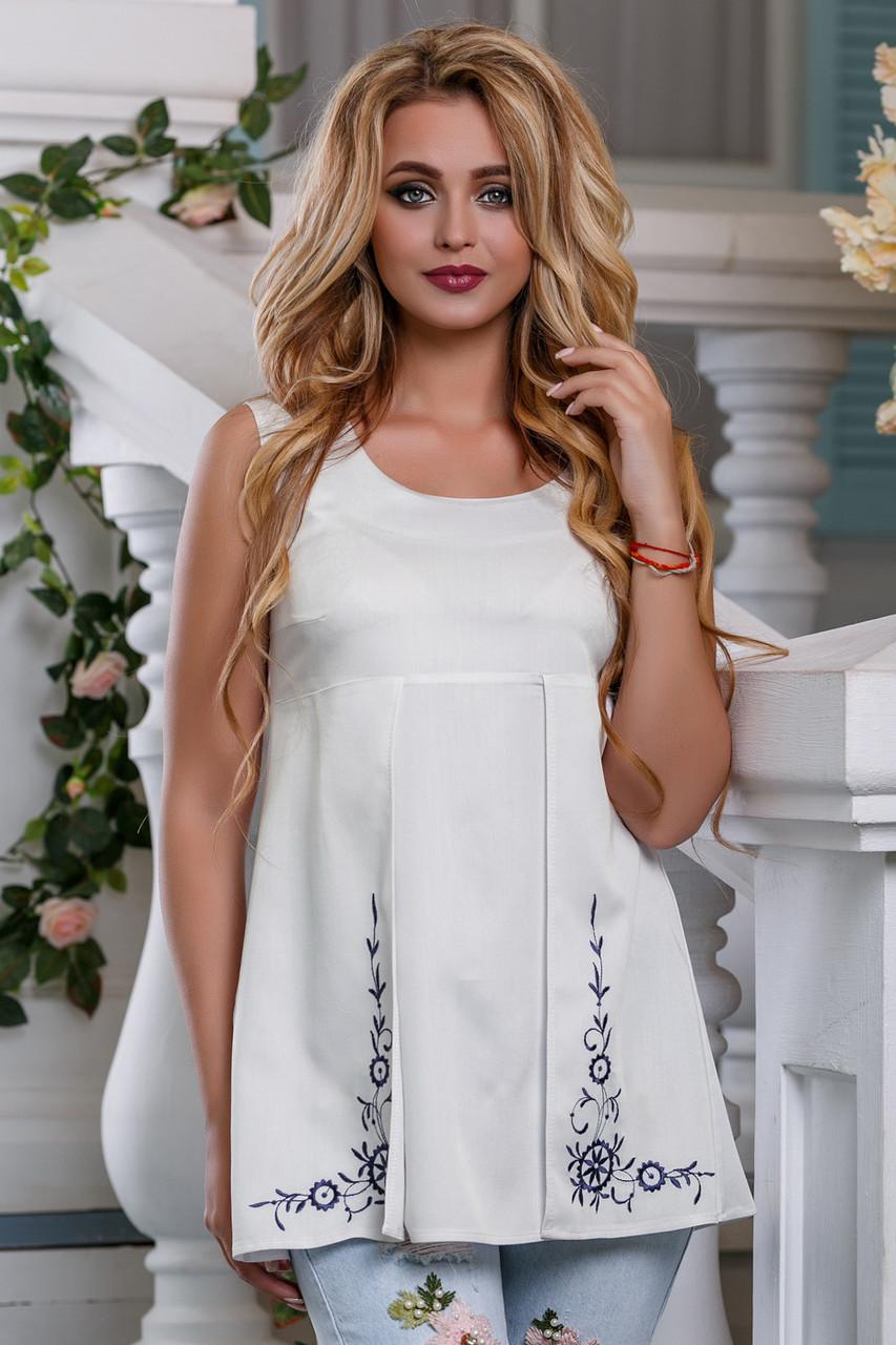 Летняя женская блузка с вышивкой стрейч-коттон
