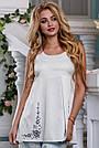 Летняя женская блузка с вышивкой стрейч-коттон, фото 2