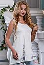 Летняя женская блузка с вышивкой стрейч-коттон, фото 4