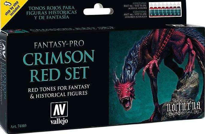 Набор из 8 красок: Fantasy-Pro Crimson Red Set. VALLEJO 74103