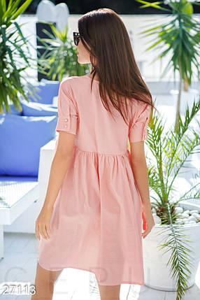 Летнее платье средней длины свободное от груди с коротким рукавом персиково розовый, фото 2