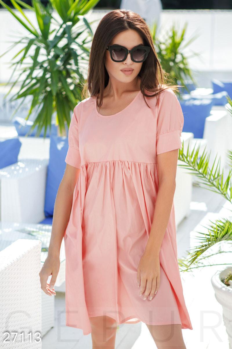 Летнее платье средней длины свободное от груди с коротким рукавом персиково розовый