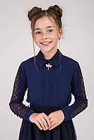 Блуза нарядная  школьная с встречными складками и рукавами из гипюра для девочки оптом