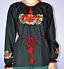 """Сорочка вышиванка """"Маки"""" черная KRAYKA, фото 4"""