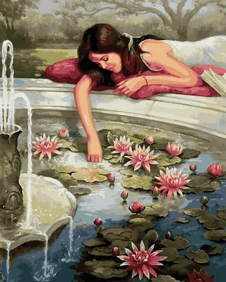 картина раскраска по номерам фонтан с лотосами