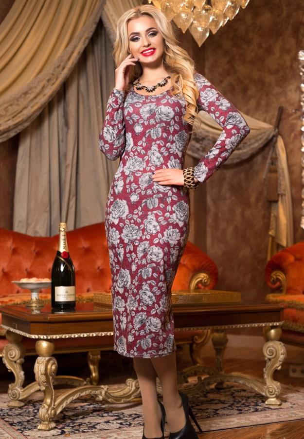 b054448dfd0 Повседневное платье миди с цветочным принтом Д-1371  продажа