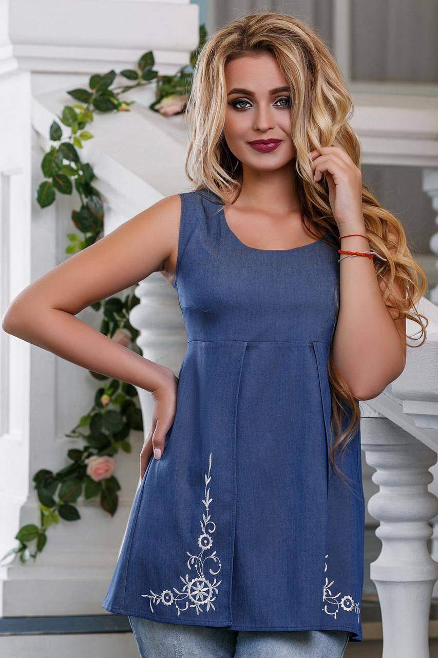 Летняя женская блузка из стрейч-коттона с вышивкой, синяя, размеры от 44 до 50