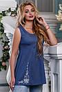 Летняя женская блузка из стрейч-коттона с вышивкой, синяя, размеры от 44 до 50, фото 4
