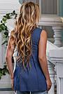 Летняя женская блузка из стрейч-коттона с вышивкой, синяя, размеры от 44 до 50, фото 5